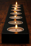 Wood candle holder Royalty Free Stock Images