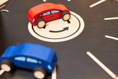 Wood cars toy parking garage hybrid stock photos