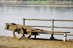 Wood Cart Parking River View Stock Photo