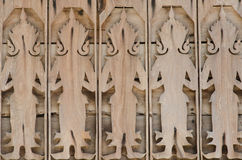 Wood carve a stand lined with artisan woodwork. Royalty Free Stock Image