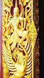 Wood carved decorative door art. Stock Image
