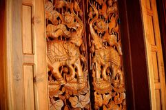 Wood carved door royalty free stock photos
