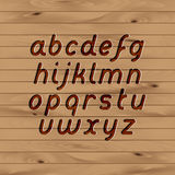 Wood carved font. Wood texture and carved font set Royalty Free Stock Image