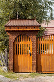 Wood carved gate Stock Photo
