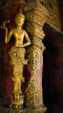 Wood carved and gilded angel at Phra Singh Temple Stock Photos