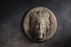 Wood carved of indian chief head Royalty Free Stock Photo