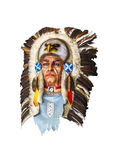 Wood carved indian chief head on white Royalty Free Stock Photos