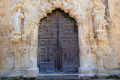 Wood Carved Mission Door Stock Photography