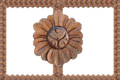 Wood carved picture frame Stock Photo