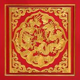 Wood Carved on Red Door. Chinese style Royalty Free Stock Photography