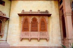 Wood carved shutters and ornate window Mohatta Palace Museum Karachi Pakistan Royalty Free Stock Photography