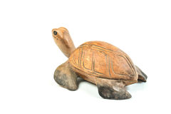Wood carved turtle on white background Stock Image