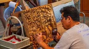 Wood carver. Royalty Free Stock Photography