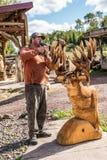 Wood Carver doing finish work Stock Photo