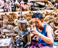 Wood carver in Mandalay, Myanmar 2 Stock Photos