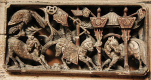 Wood carving 2. Wood carving pattern of the window of old house,East of China royalty free stock images