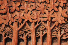 Wood carving. A detail image of a wood carving fresco in a wat in Bangkok thailand Stock Images