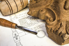 Wood carving. With work tools Stock Image