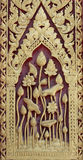 Wood carving. Lotus wood carving Thai style Stock Photos