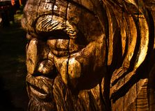 Australiana Tree Wood Carving. Wood carving of an aboriginal tree at Mt Dandenong, Victoria, Australia stock images