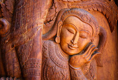 Wood carving art. In temple of Thailand Royalty Free Stock Photography