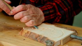 Wood carving stock video footage