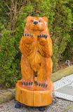 A wood carving of a bear in british columbia Stock Images