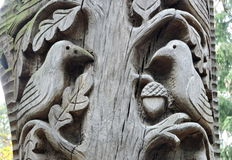 Wood carving, Birds Stock Image
