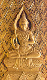 Wood carving Buddhist temple door public places of Buddhist wors Royalty Free Stock Images
