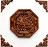 Wood carving. This is a chinese wall with wood carving design Stock Image