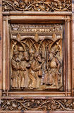 Wood carving on a church door Stock Photography