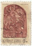 Wood carving. Cyprus postage stamp `Wood carving stock image