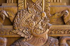 A wood carving depictiong image of a giant royalty free stock images