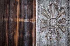 Wood carving detail in Maramures, Romania Royalty Free Stock Image