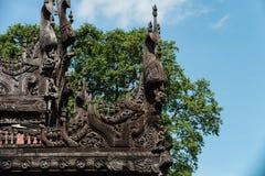 Wood carving detail at Shwenandaw monastery in Mandalay, Myanmar Stock Photos