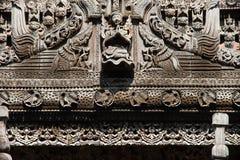 Wood carving detail at Shwenandaw monastery in Mandalay, Myanmar Royalty Free Stock Photos