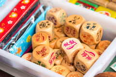 Wood carving dice Royalty Free Stock Images