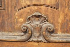 Wood carving on the door. Catholic Church, Saint Petersburg, Russia stock photography
