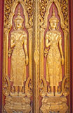 The Wood Carving Door of Thai Temple. Ayuttaya, Thailand Stock Photos
