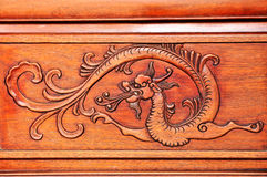 Wood carving dragon Stock Image