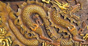 Wood carving of dragon Stock Images