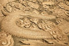 Wood carving of a dragon Royalty Free Stock Photography