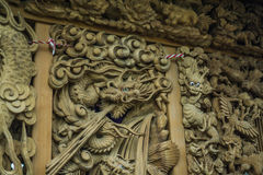Wood carving dragon I. Japanese art of wood carving dragon royalty free stock photos