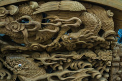 Wood carving dragon II Stock Images