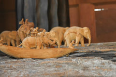 Wood carving elephant Royalty Free Stock Photo