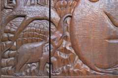 Wood carving of the elephant Royalty Free Stock Images