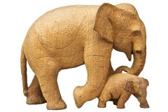 Wood carving elephants. Royalty Free Stock Image