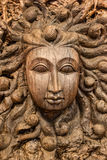 Wood carving, female Royalty Free Stock Photo