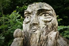 Wood Carving. Figure, in woodland Stock Photography
