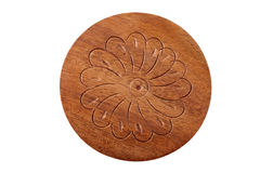 Wood carving of flower Stock Photo